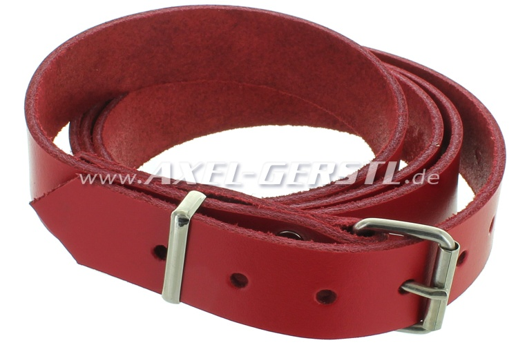 Leather belt for luggage rack (135 x 2.5 cm), red