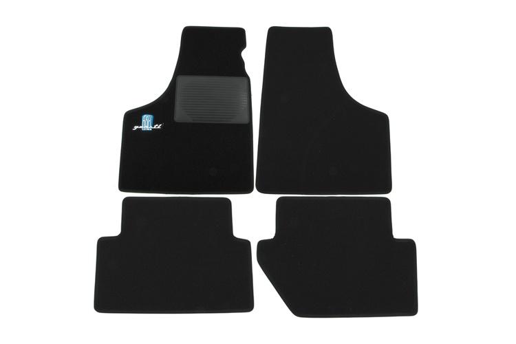 Tappeti auto (nero) con logo AXEL GERSTL (azzurro)