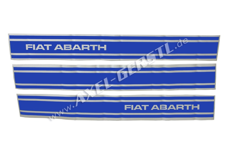Set of 3 stickers Abarth, sideways, blue (w/o number)