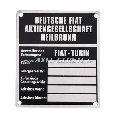 Targhetta identificativa FIAT in alluminio (peso)