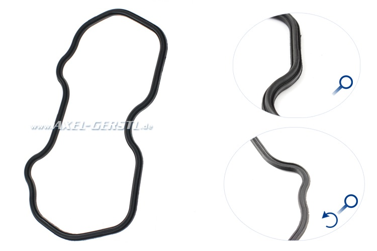 Valve cap gasket, preformed with notch for valve cap
