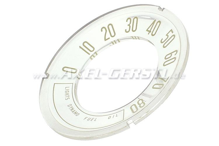 Zifferblatt f. Original-Tacho, Anzeige bis 80 mph (konkav)