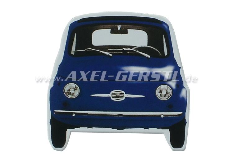 Magnet Die-cut, Motiv Fiat 500 Front, dunkelblau