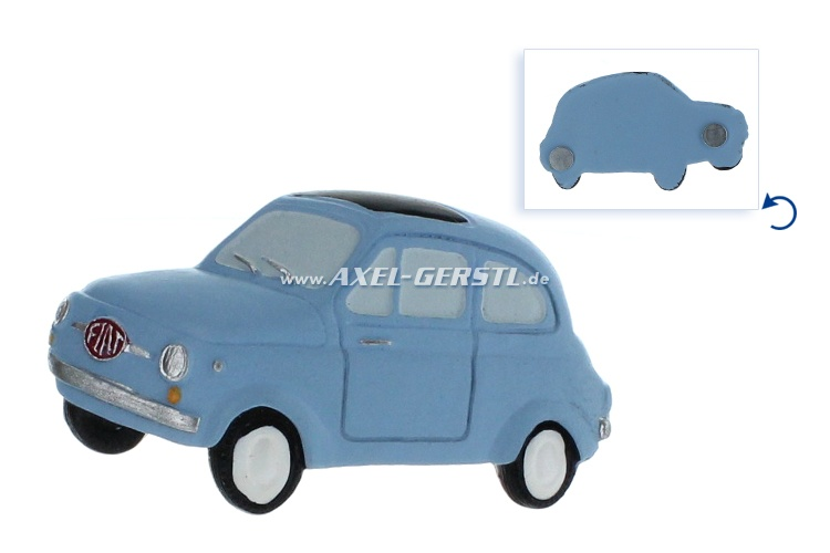 Magnet, motif Fiat 500 laterally, blue