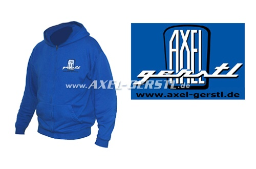 Hoodie jacket Axel Gerstl Classic Logo, blue, size S