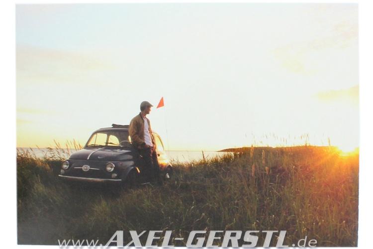 Cartolina Fiat 500 al tramonto (148 x 105 mm)