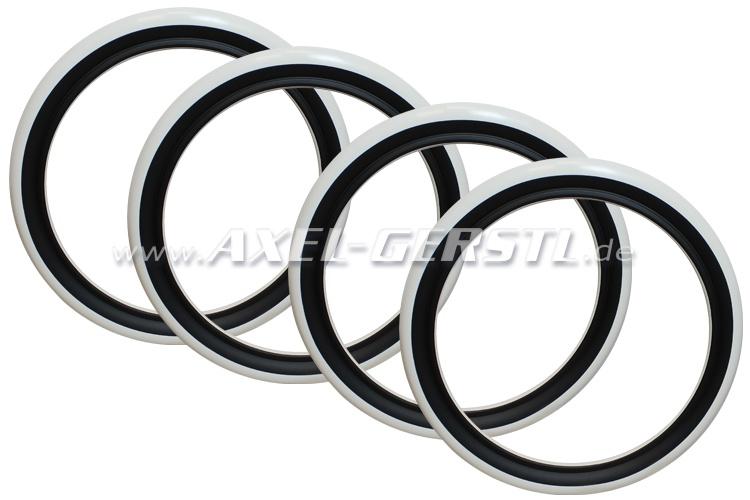 Anneaux des flancs blancs pour pneus SR/13, noir/blanche, 4p
