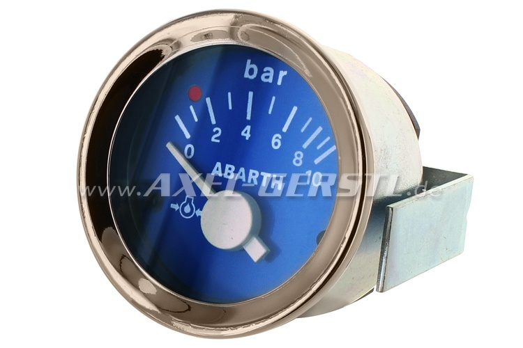 Abarth oil pressure gauge, 52mm, blue dial
