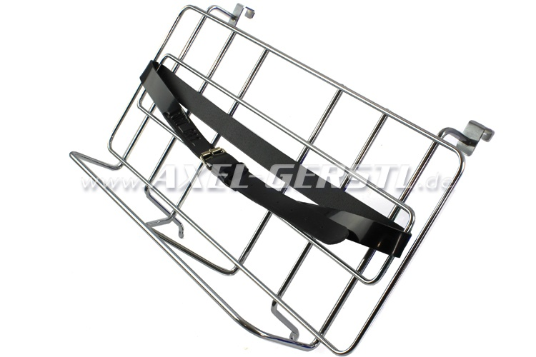 Porte-bagage pour la capot, chromé/cuir