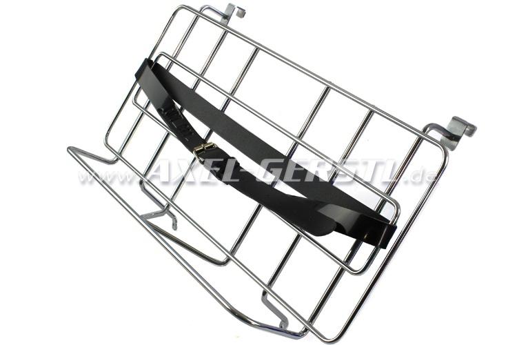 Gepäckträger f. Motorhaube, chrom/Leder (zum Einhängen)