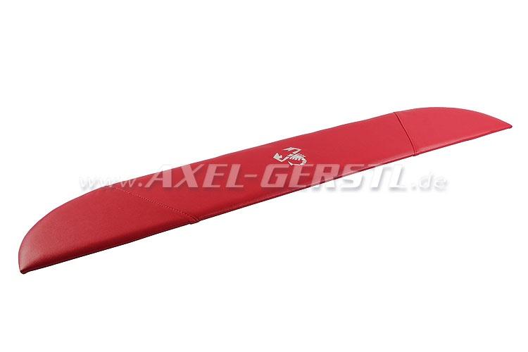 Hutablage SKORPION, Kunstlederbezug rot / weiße Nähte