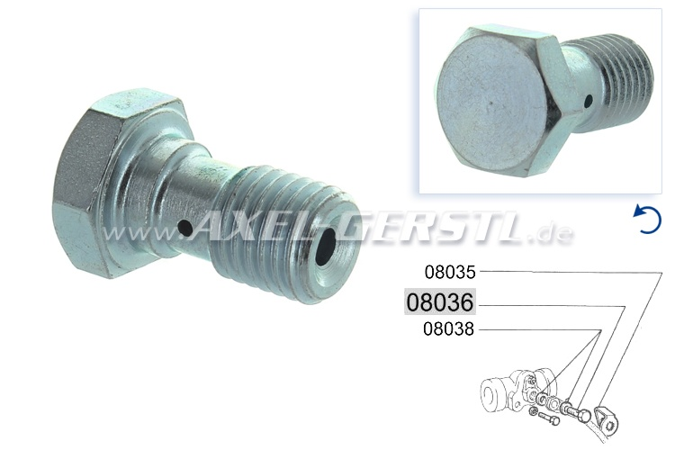 Banjo bolt for brake hose/wheel cylinder