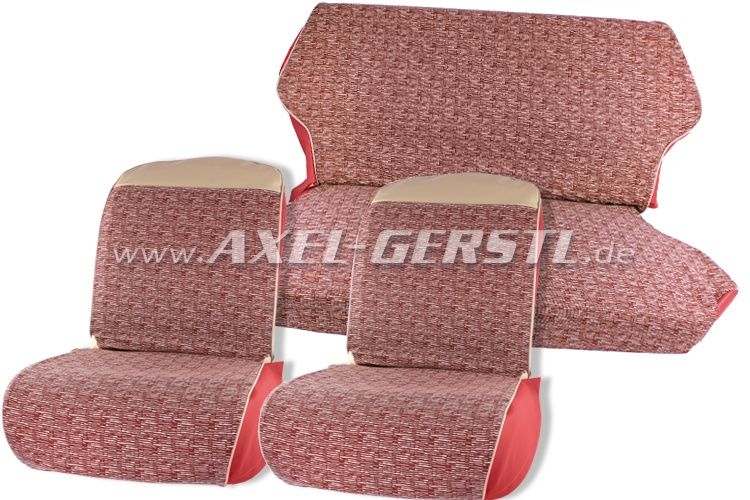 Seat covers, red/cream-coloured, fabric (Vipla) front & back