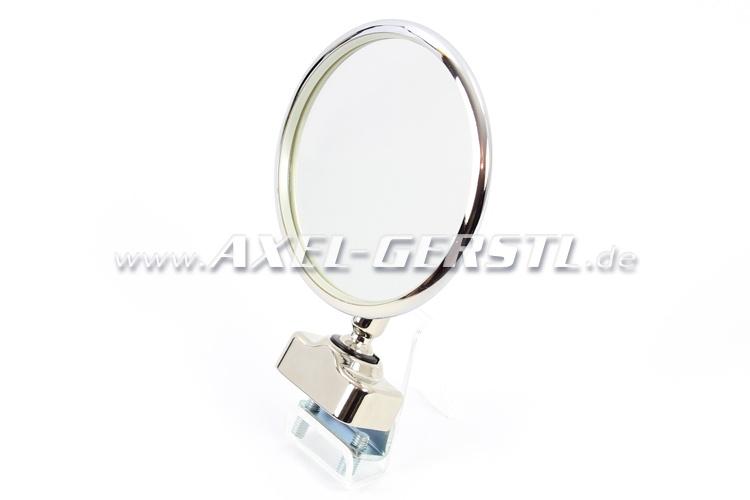 Ext. mirror f. door rabbet mounting chrome, round, PREMIUM