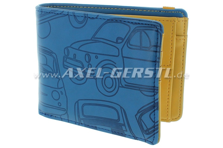 Purse /wallet Fiat 500,imitation leather,12x9cm,blue/yellow