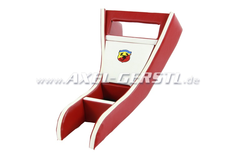 Console radio ABARTH, cuir artificiel, rouge/blanc