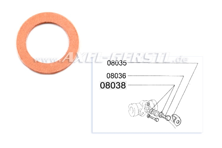 Copper O-ring for brake hose, front