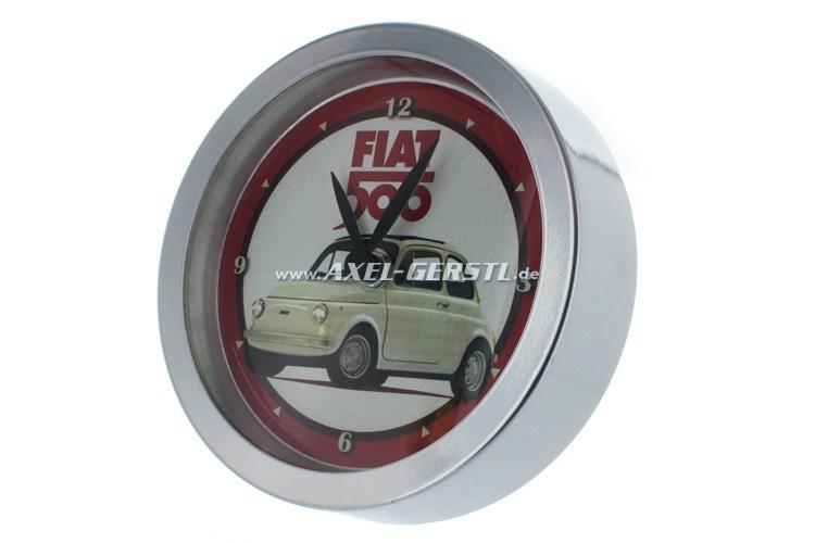 Horloge murale, motif Fiat 500 R, rouge/blanche (16cm)