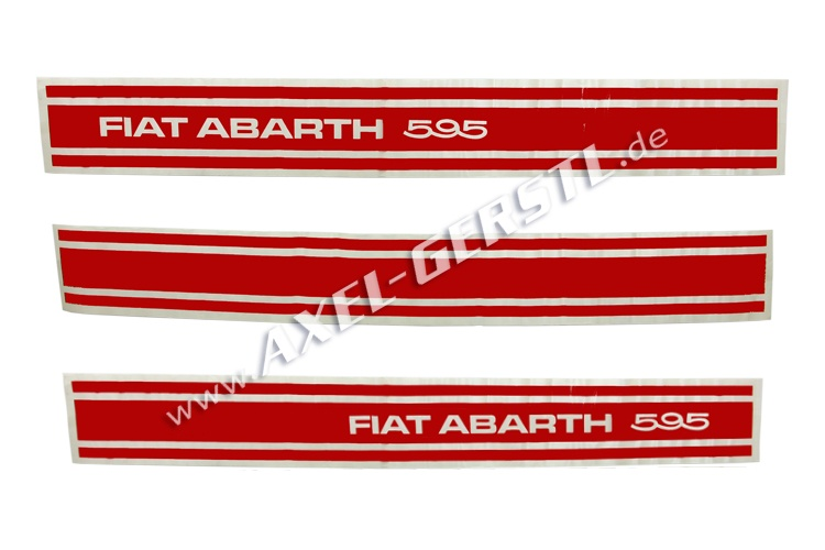 Set of stickers Abarth 595, sideways, 3 pieces, red