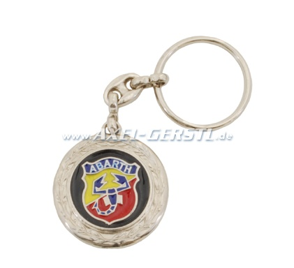 Abarth key fob, round with laurels, metal