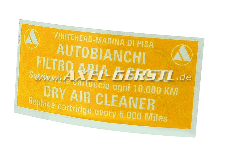 Sticker Filtro Aria for air filter housing Autobianchi