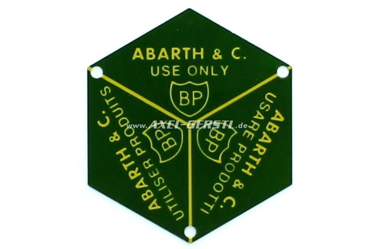 Emblem/Schild f. Deckel f. Öleinfüllstutzen Abarth BP