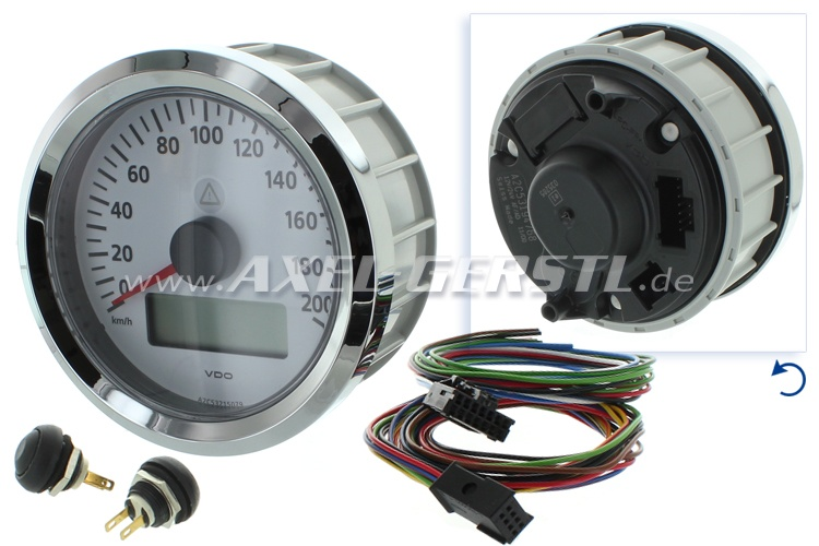 VDO speedometer, 90 mm, white dial, til 200 km/h
