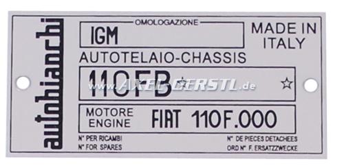 Targhetta identificativa  AUTOBIANCHI 110 FB in alluminio