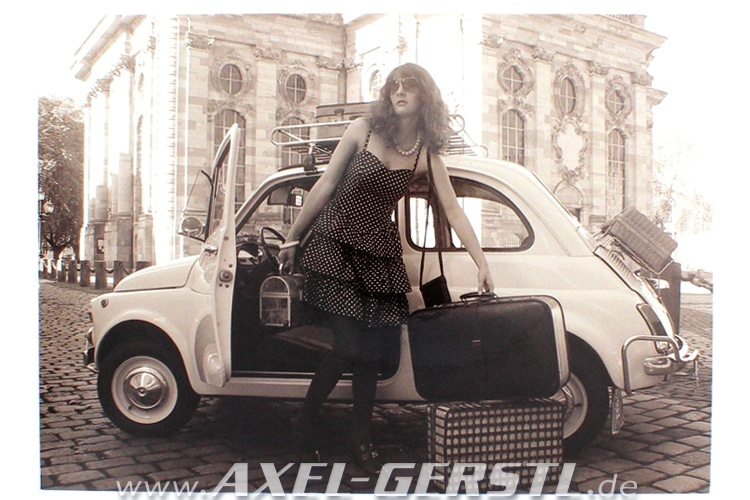 Postcard Fiat 500 and a young woman in front of a church