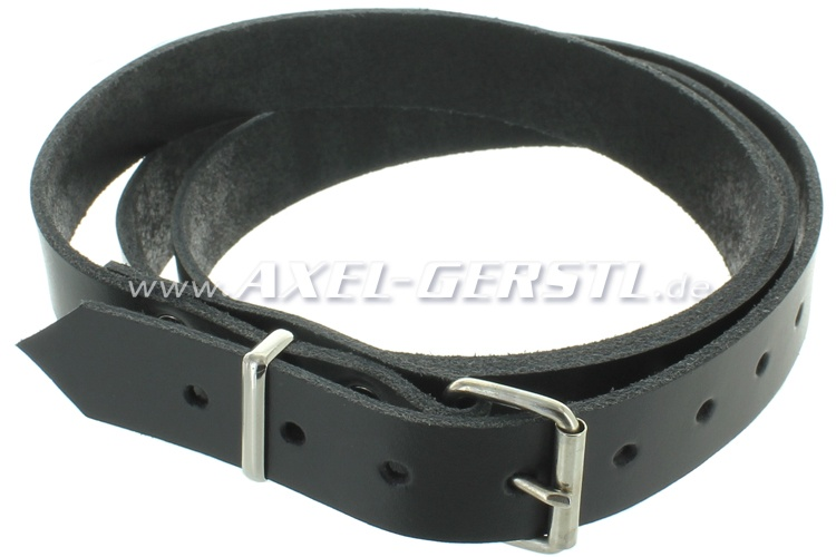 Leather belt for luggage rack (135 x 2.5 cm), black