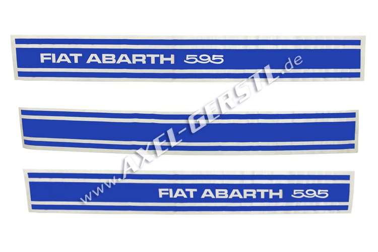 Set of 3 stickers Abarth 595, sideways, blue