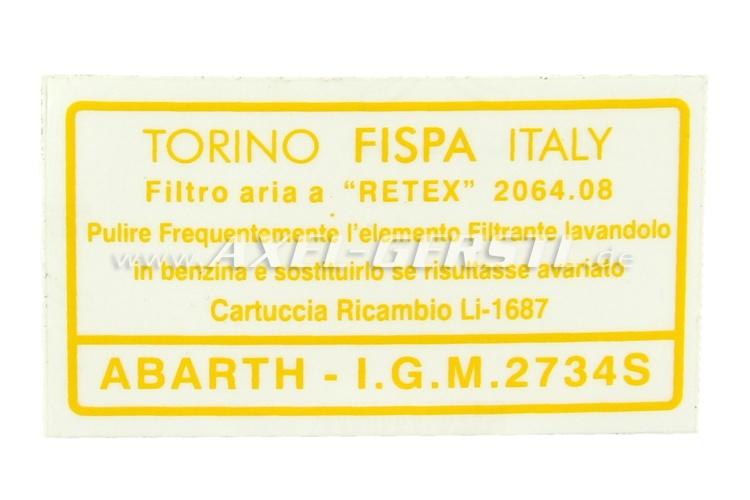 Aufkleber Filtro Aria f. Luftfiltergehäuse Abarth