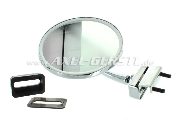 Seitenspiegel, Türfalzmontage chrom, rund/Dm. 125 mm