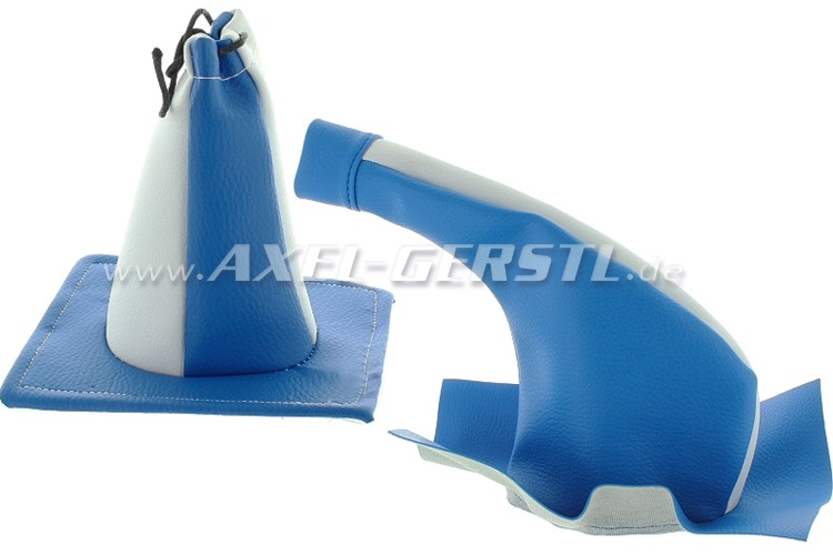 Boot for gear shift lever / handbrake lever,2 pc, blue/white