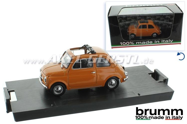 Modellauto Brumm Fiat 500 F, 1:43, ocker / offen