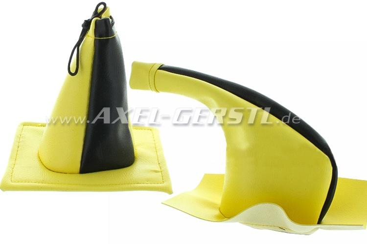 Boot for gear shift lever/handbrake lever,2 pc,black/yellow