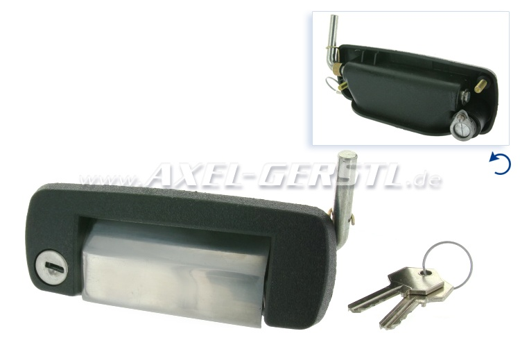 Door-handle/lock, left, chrome with cylinder & keys