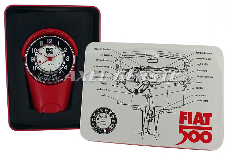 Alarm-clock tachometer box Fiat 500 (8x12,5x6cm), red