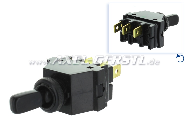 Toggle switch, 2st/3con black, wiper/light/hazard w.l.