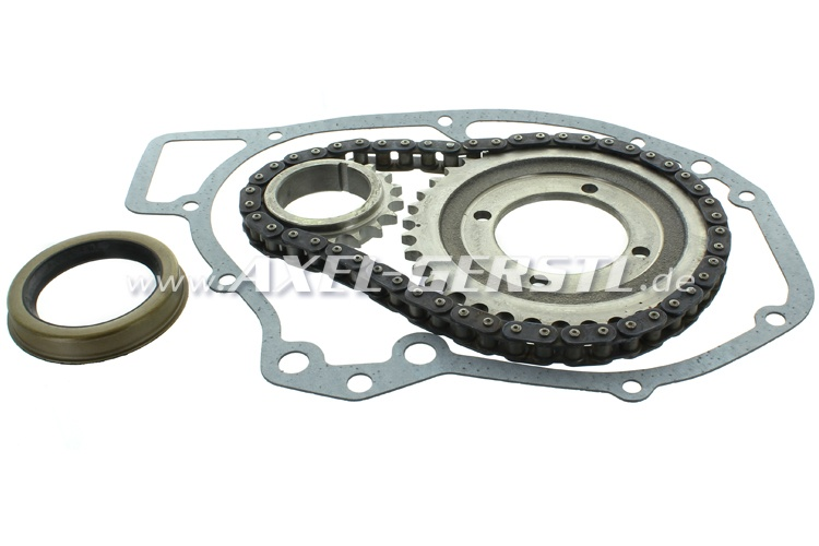 Timing chain gear set, including shaft seals und gaskets