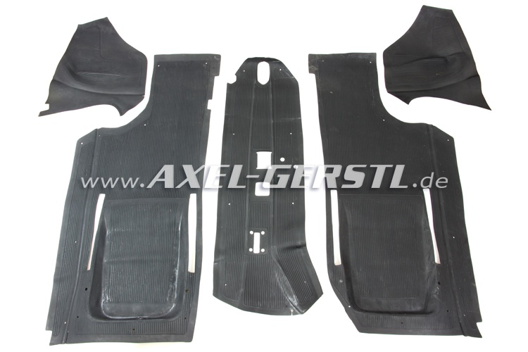 Set of rubber floor mats, 5 pieces