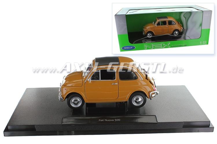 Voiture miniature Welly Fiat 500 L, 1:18, jaune foncé/fermé