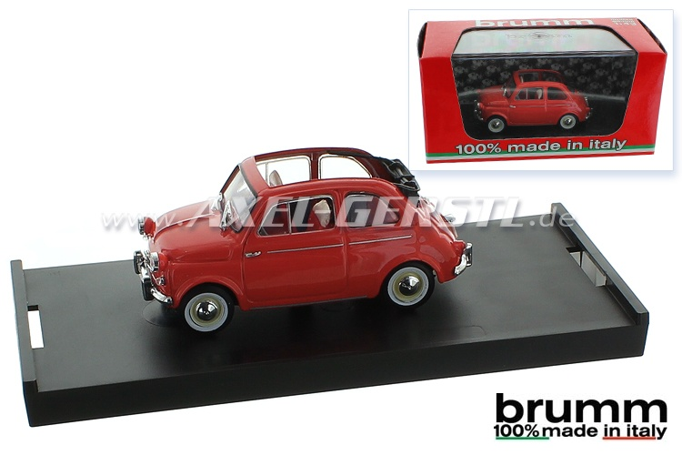 Modellauto Brumm Fiat 500 N (US-Version), 1:43, rot / offen