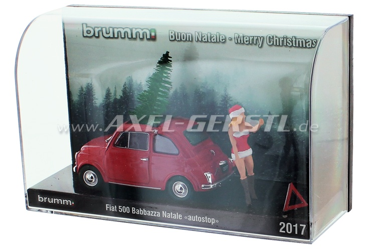 Model car Brumm Fiat 500 Babbazza Natale in panne 2017