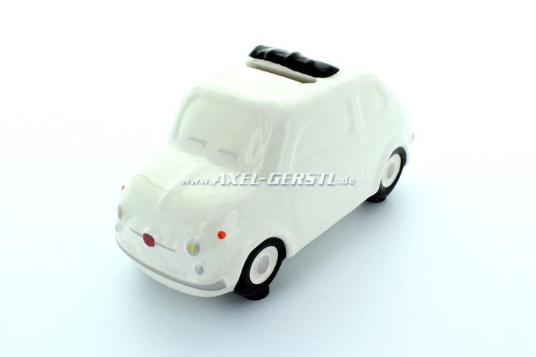 Salvadanaio Fiat 500 Modell ca. 1:24, bianco