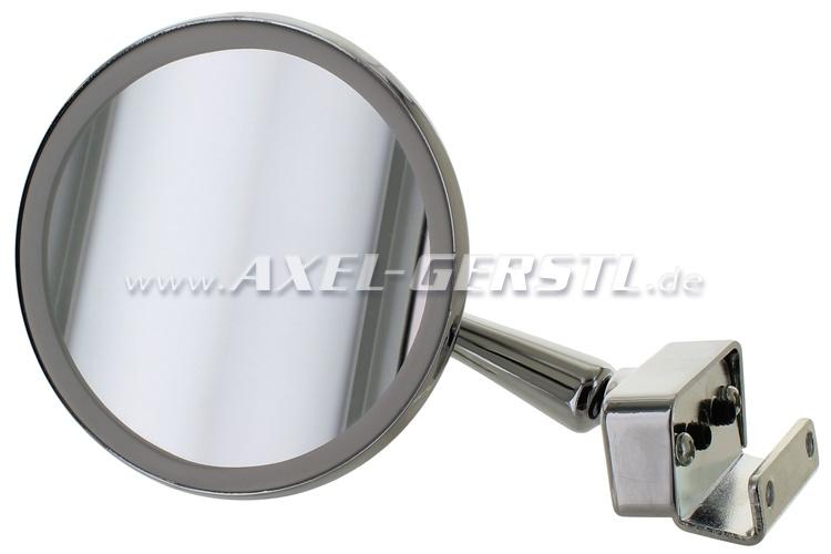 Rétroviseur, chromé, clip de fixation, ronde, diamètre 100mm