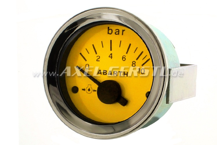 Abarth oil pressure gauge, 52mm, yellow dial