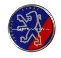 Aufkleber Peugeot 3-D, Wappen blau, rot Streifen Ø = 4,8 cm