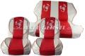 Sitzbezüge rot/weiß Skorpion, Kunstleder kpl. vo. & hi.