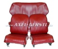 Seat covers, bordeaux red artificial leather, front & back